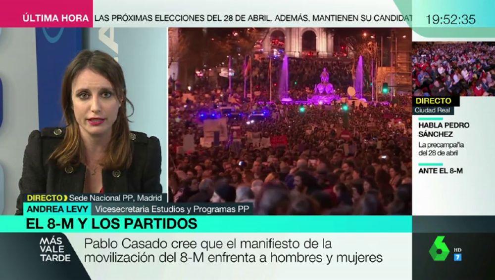 """Andrea Levy: """"No ir a la manifestación no me hace menos feminista"""""""