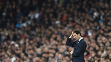 Solari, durante un partido del Real Madrid