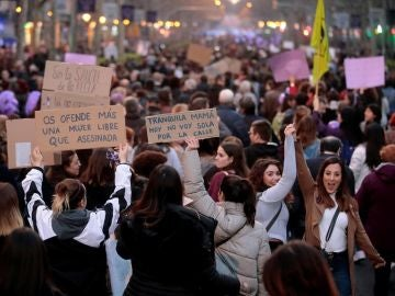 Marcha feminista en Barcelona
