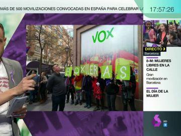 Concentración del 8M frente a la sede de Vox