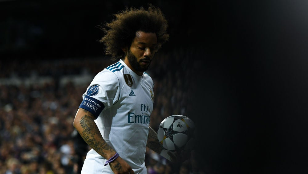 Marcelo, en un partido del Real Madrid en Champions