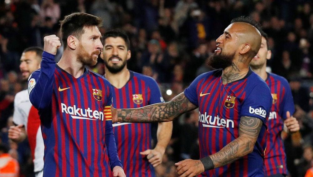 El Barça celebra uno de sus goles contra el Rayo Vallecano