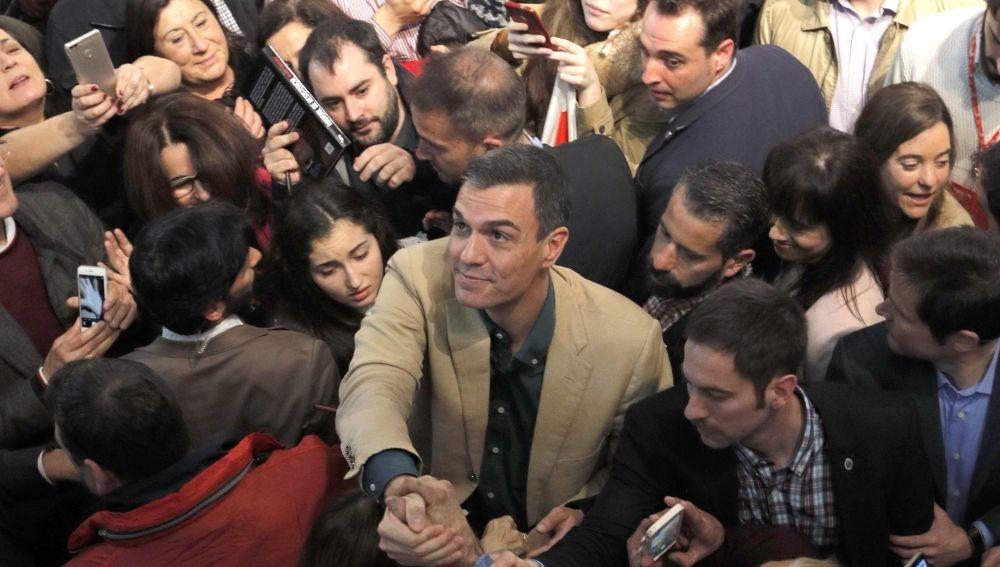 Pedro Sánchez durante un acto del partido en A Coruña.