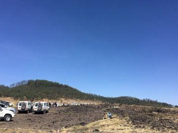 Vista general del lugar donde se ha estrellado el avión de Ethiopian Airlines