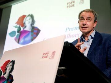 José Luis Rodríguez Zapatero, durante un acto homenaje a Carmen Alborch en Valencia.