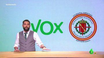 """Dani Mateo explica todos los vínculos entre Vox y la Fundación Francisco Franco: """"Son tan de derechas que más que primos son primos de Rivera"""""""