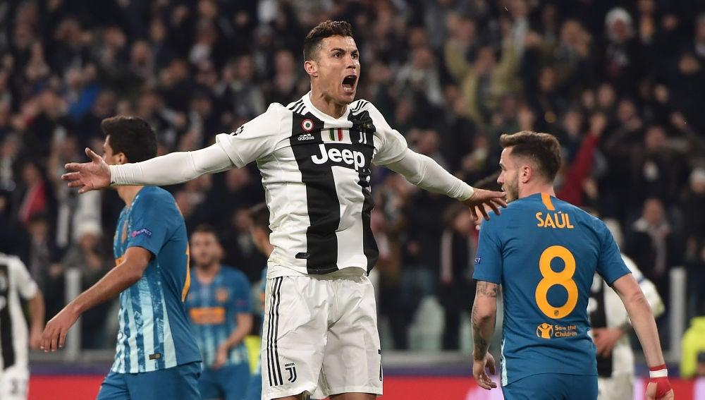 Cristiano Ronaldo celebra un gol ante Saúl