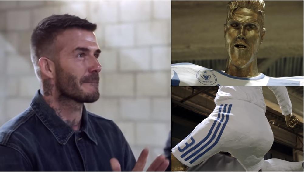 David Beckham y su estatua 'fake'