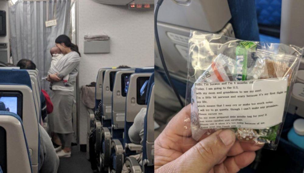 Vista de los tapones que repartió una mujer en un avión.