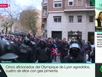 Detenidas cinco personas tras una pelea multitudinaria entre ultras del Lyon y el Barcelona