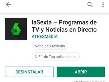 La app de laSexta, situada en el número 1 de top aplicaciones