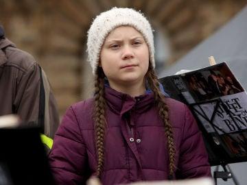 Greta Thunberg durante una manifestación en Hamburgo.