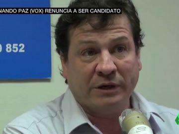 """VÍDEO REEMPLAZO - Fernando Paz, el homófobo fichaje de Vox, presenta su """"renuncia irrevocable"""" a la candidatura por Albacete"""