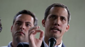 El líder opositor Juan Guaidó, durante una rueda de prensa.