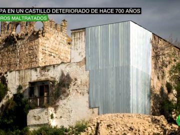 Apuntalan con una chapa la esquina de un castillo de hace 700 años