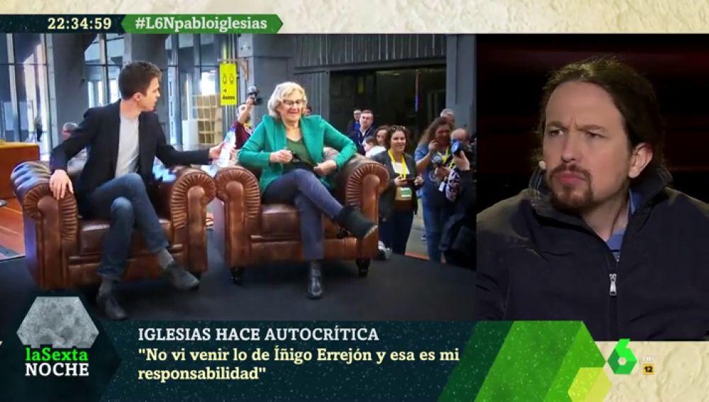 """Pablo Iglesias asume la responsabilidad de los """"errores"""" de Podemos: """"Tenía que haber visto venir lo de Errejón y lo de Carmena"""""""
