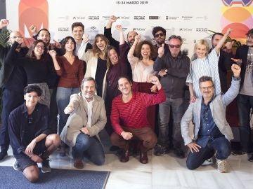 Los premiados del XXII Festival de Cine en Español de Málaga posan en el Teatro Cervantes