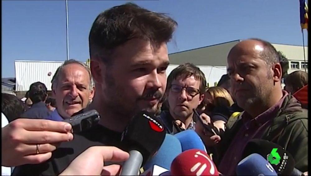"""Gabriel Rufián hace un llamamiento en Alsasua a unirse contra el """"fascismo azul, naranja y verde"""""""