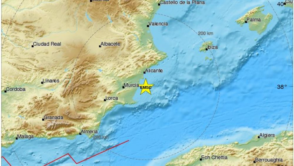 Epicentro del terremoto de Alicante y Murcia