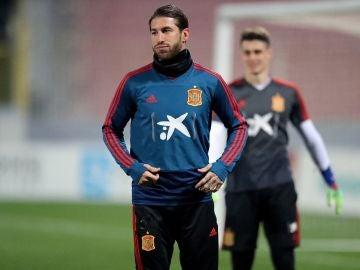 Sergio Ramos, entrenando con la selección española
