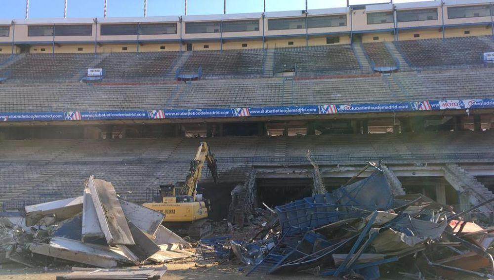 Las labores de demolición del Vicente Calderón