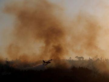 Imagen del incendio forestal en Rianxo