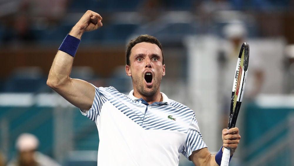 Roberto Bautista tras ganar a Djokovic y pasar a cuartos de final del Abierto de Miami