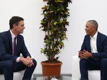 El expresidente de Estados Unidos, Barack Obama, se reúne con Pedro Sánchez en Sevilla.