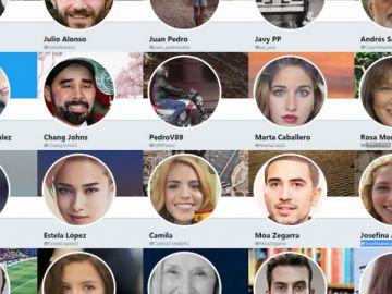 Imágenes de los perfiles de las cuentas falsas en Twitter.