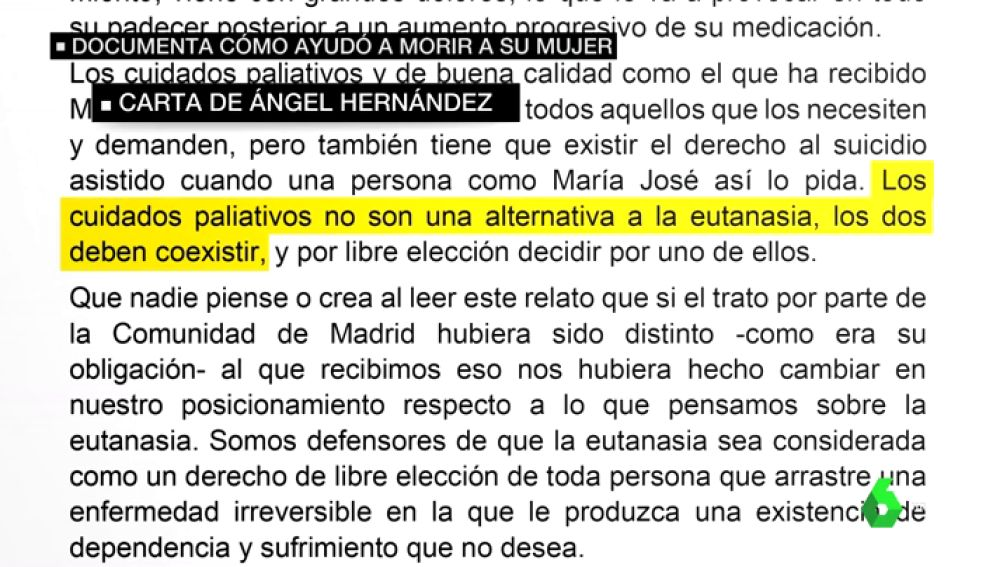 """La carta del detenido por ayudar a morir a su mujer: """"Los cuidados paliativos no son una alternativa a la eutanasia"""""""
