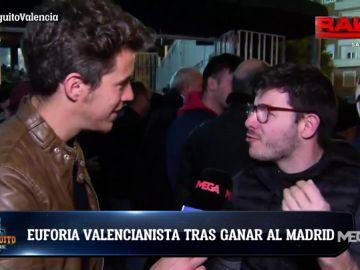 La afición del Valencia, 'desatada' tras derrotar al Real Madrid de Zidane