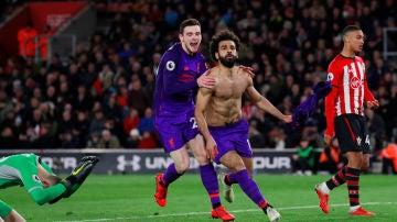 Salah celebra su gol ante el Southampton