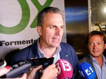 El secretario general de Vox, Javier Ortega Smith durante un acto de la formación en Ibiza