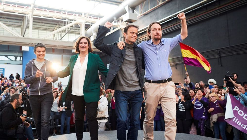Iglesias, Colau, Jaume Asens y Martín