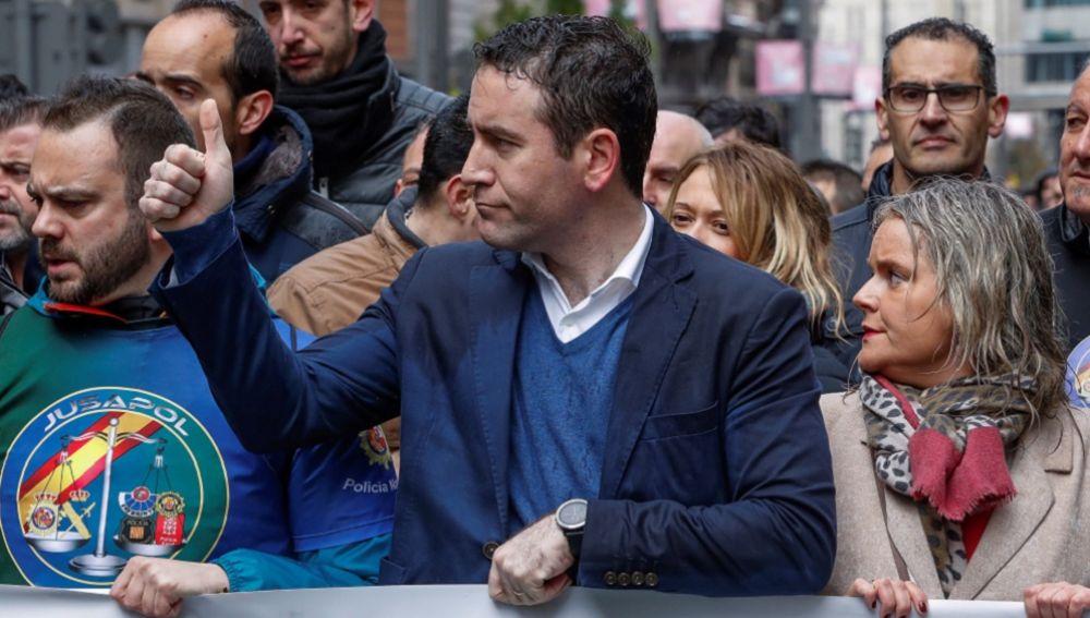 Teodoro García Egea en la manifestación de Jusapol