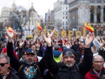 Manifestantes de Jusapol en Madrid.