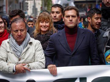 El líder de Ciudadanos, Albert Rivera, en la manifestación de Jusapol en Madrid.
