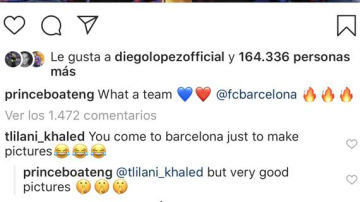 Boateng responde a un seguidor en Instagram