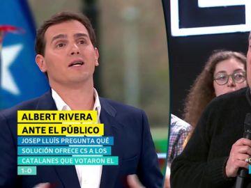"""Máxima tensión entre Albert Rivera y un independentista en El Objetivo: """"Usted vive en Matrix"""""""