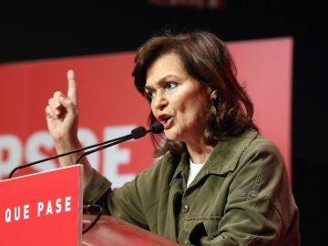 La vicepresidenta del Gobierno y secretaria federal de Igualdad del PSOE, Carmen Calvo