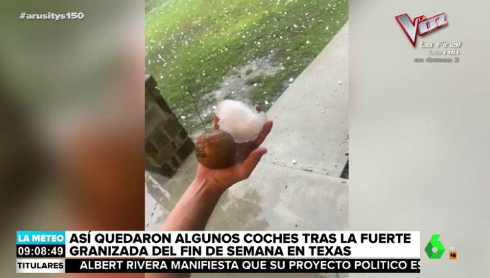 Piedras del tamaño de una pelota de béisbol: las impactante imágenes de la fuerte granizada en Texas