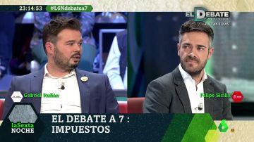 Gabriel Rufián habla con Felipe Sicilia