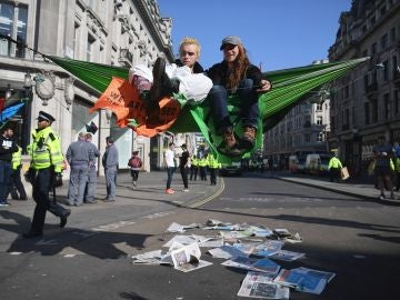 Manifestantes de 'Extinction Rebellion'
