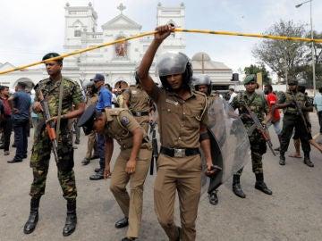 Momentos posteriores a los atentados de Sri Lanka
