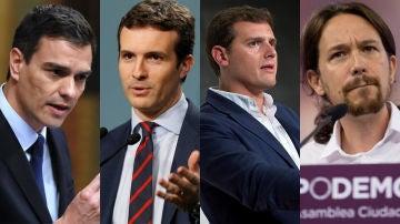 Pedro Sánchez, Pablo Casado, Albert Rivera y Pablo Iglesias, candidatos a las elecciones