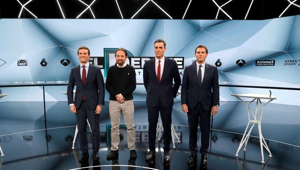 Los candidatos, en el debate de Atresmedia