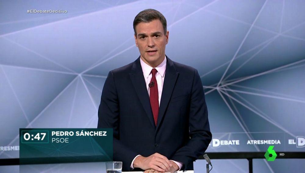 """El minuto de oro de Pedro Sánchez: """"El único partido que puede ganar a las tres derechas es el Partido Socialista"""""""