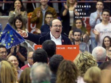 El primer secretario del PSC, Miquel Iceta durante el acto electoral