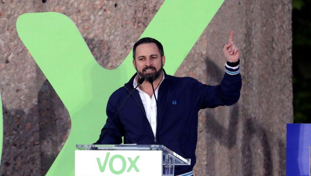 Santiago Abascal en el acto de cierre de campaña de Vox