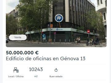 Captura del anuncio publicado en Wallapop sobre la sede del PP en Génova